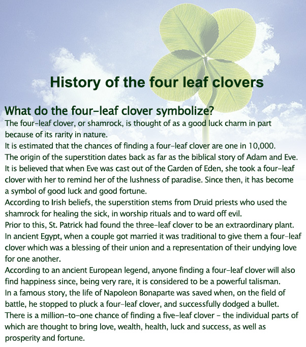 finding a 4 leaf clover meaning Gran janice, 63, added: it took me 60 years to find a four-leaf clover but when georgia took me out the other day, we found one right away i'm looking of those questioned, 29% said they believed it is lucky to find a four-leaf clover and 26% said they thought it was unlucky to open an umbrella indoors many christian.
